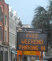 There is free parking downtown at the 93 Queen Street Garage on Saturdays in the King Street Antique District