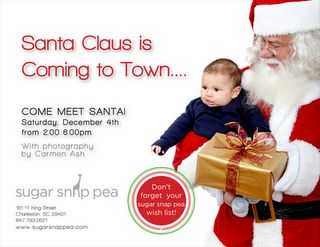 his weekend, Santa Claus will be visiting Sugar Snap Pea for a little modeling photoshoot!