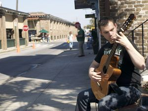 Michael Lindsey classical guitarist playing 2nd Sunday on King Street