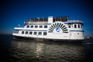 Spiritline Cruises' beautiful ship sets sail in the Charleston Harbor.