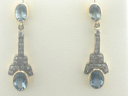 Joint Venture Aquamarine Diamond Dangle Earrings