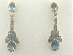 Joint Venture Aquamarine Diamond Dangle Earrings