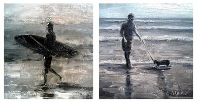 Happy Hour & Walking the Dog 8x8 Oil Paintings by Kevin LePrince
