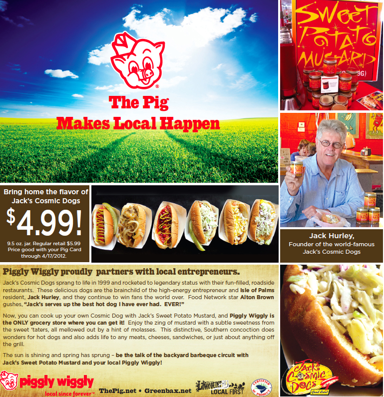 Jack's Cosmic Dogs Sweet Potato Mustard is sold exclusively at the Piggly Wiggly grocery stores
