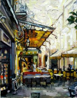 Cafe La Nuit 20 x 16 Oil on Linen Panel by Rick Reinert