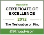 Restoration on King Street wins 2012 TripAdvisor Certificate of Excellence Award