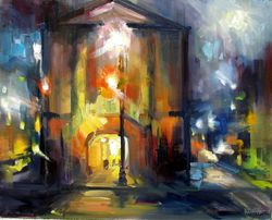 Night on Market 16x20 Oil Painting by Rick Reinert