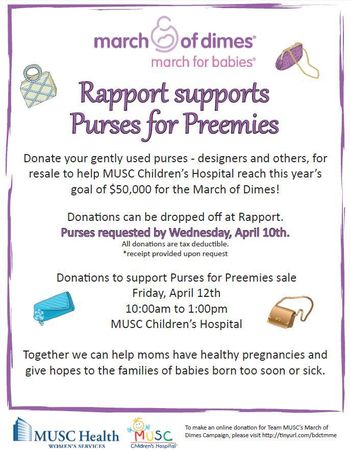Rapport Purses for Preemies Donations