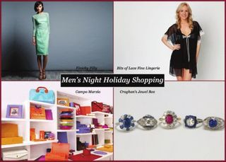 Mens Night Holiday Shopping Stroll