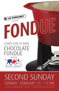 Fondue Class at Le Creuset during Charlestons 2nd Sunday on King St