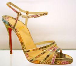 Christian Louboutin multi color snake skin sandals
