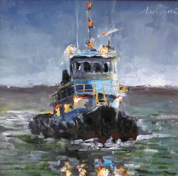 Pushy 11x11 Charleston Tugboat by Kevin LePrince