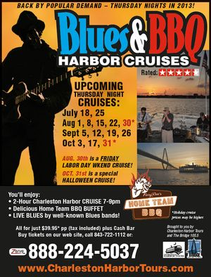 Blues and BBQ Harbor Cruises Charleston Harbor Tours