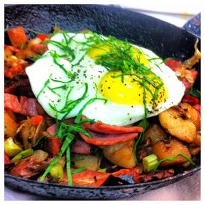 Corn Beef Hash Brunch Special at Leaf Cafe