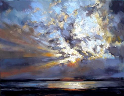 Ashley River Sunset  30x40 oil by Rick Reinert