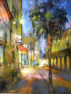 Market Street Nocturne oil on canvas by Rick Reinert