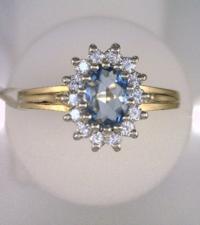Aquarmarine Diamond 14k Gold Ring