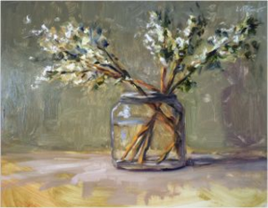 Kevin LePrince White Lilacs Painting