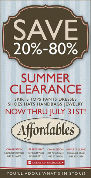 b2f87160a3c Affordables on KIng Street Summer Clearance Sale Now Through July 31st. 20%  to 80% Off!