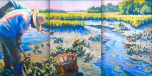 """""""Mystery Catch"""" Triptych Original Oil by Olessia Maximenko"""
