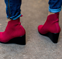 Gibbes Boot. Features a rounded toe box for a wide fit! Available in 9 sassy colors. Shown here in cherry. $150