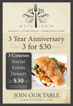 Eli's Table 3 Yr Anniversary 3 for $30