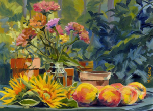 Zinnias Peaches and Sunflowers by Murray Sease