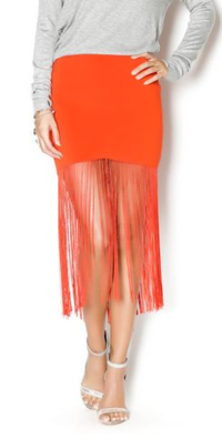 Red Fringe Skirt by Line and Dot