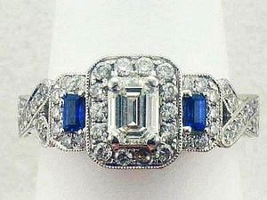 Joint Venture Diamond Sapphire Engagement Ring Antique