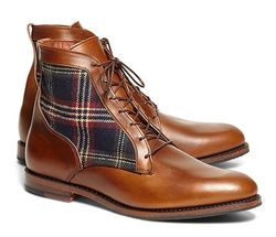Brooks Brothers Leather Tartan Boots