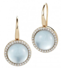 Roberto Coin Cocktail Earrings with Diamonds, Blue Topaz, and Mother of Pearl