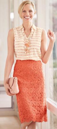 Talbots Rose Lace Skirt
