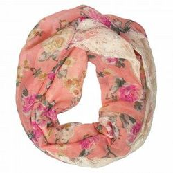 Floral and Lace Infinity Scarf