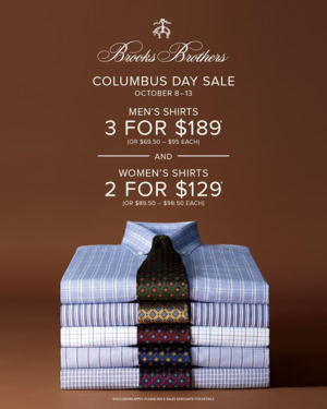 Brooks Brothers Columbus Day Sale
